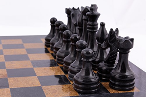 RADICAL 16 Inches Handmade Black and Golden Original Hand Crafted Marble Full Chess Game Set 5