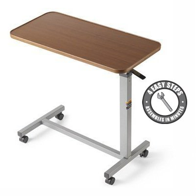 Eva Medical Adjustable Overbed Table with wheels (Hospital and Home Use) (Tray Table Adjustable compare prices)