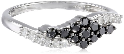 10k White Gold Black and White Diamond Swirl Ring (0.50 cttw, H-I Color, I2-I3 Clarity), Size 8