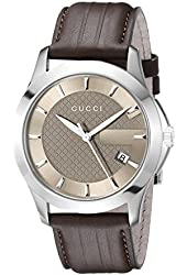 """Gucci Men's YA126403 """"G-Timeless"""" Brown Dial Brown Leather Strap Watch"""