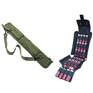 "Ultimate Arms Gear Tactical 29"" OD Olive Drab Green Molle Scabbard For Winchester 1200 / 1300 / Super X SXP X3 12 Gauge Shotgun + Tactical Black Molle 25 Shot Shell Ammunition Ammo Reload Carrier Pouch For 12 Gauge Shotgun Rounds"