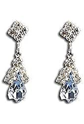 Light Slate Blue Austrian Crystal Earrings on Silver - Bridesmaid Jewelry
