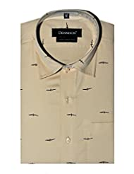 Dennison Light Brown Bird Printed Mens Semi Formal Slim Fit Shirt