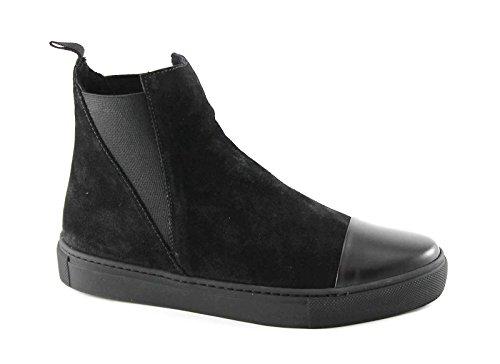 FRAU 39B2 nero scarpe donna stivaletti beatles camoscio elastici 37