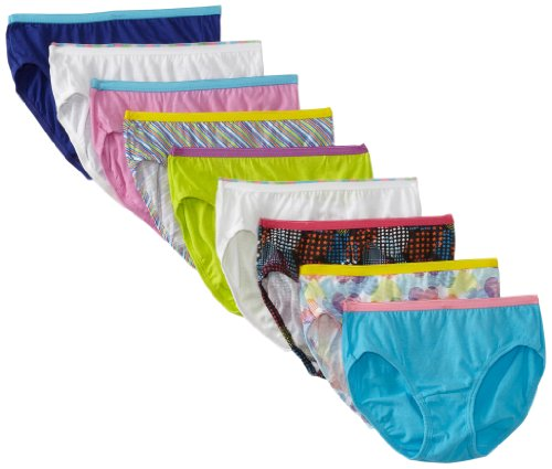 Hanes Girls'  9 Pack Hipster, Assorted, 12