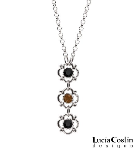 Expressing Flower Pendant Necklace Beautifully Designed by Lucia Costin with Brown, Black Swarovski Crystals, 4 Petal Flowers and Dots; .925 Sterling Silver