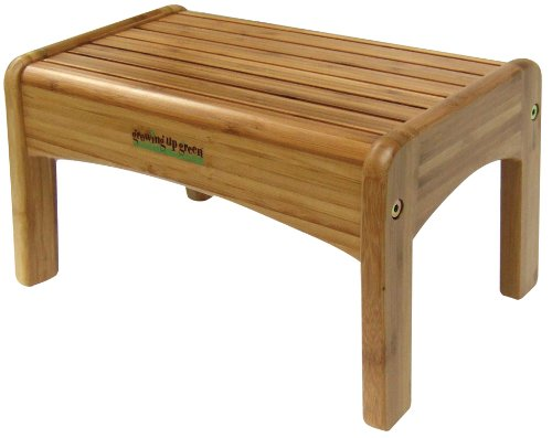 Discover Bargain Growing Up Green Wood Step Stool, Natural