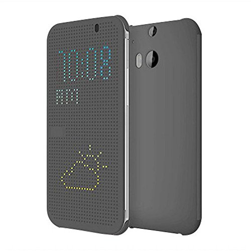 Coromose Gray Ultra Thin Dot View Flip Leather Case For Htc One M8
