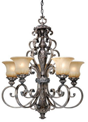 B002R94FV2 Vaxcel USA BGCHU005PZ Bellagio 6 Light Traditional Chandelier Lighting Fixture in Bronze, Glass