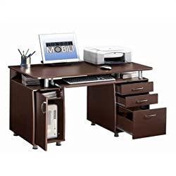 Techni Mobili Complete Computer Workstation with Cabinet and Drawers - Chocolate