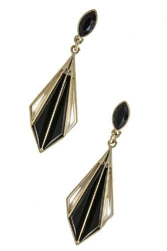 Karmas Canvas Jewel Diamond Split Earrings (Black) front-1036927