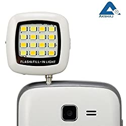 AKSHAJ Portable 16 LED Selfie Enhancing Dimmable Rechargeable Flash Fill-in Light Torch for All Smartphone, Tablet, iPhone - White
