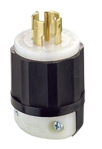Leviton 2511 20 Amp, 120/208 Volt 3PY, NEMA L21-20P, 4P, 5W, Locking Plug, Industrial Grade, Grounding - Black-White