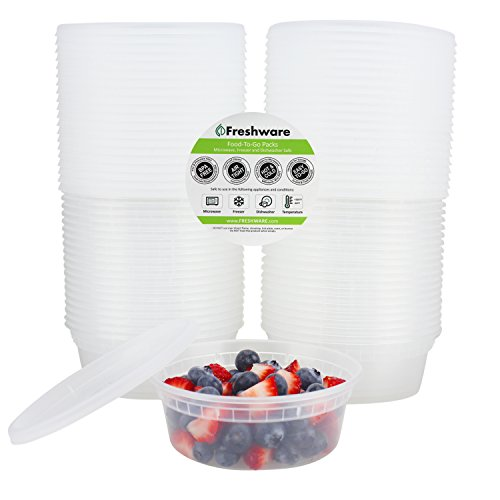 Freshware-40-Pack-8-oz-Plastic-Food-Storage-Containers-with-Airtight-Lids-Restaurant-Deli-Cups-Foodsavers-Baby-Bento-Lunch-Box-21-Day-Fix-Portion-Control-and-Meal-Prep-Containers