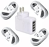 Bluecell 4 Port US Wall USB Travel AC Power Adapter Charger for iPad 2,The New iPad,iPhone,iPod - White