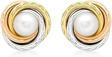 Carissima 9ct Three Colour Gold and Pearl 12mm Stud Earrings