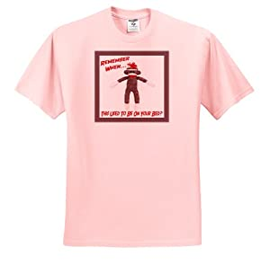 Susan Brown Designs Retro Themes - Sock Monkey - T-Shirts - Adult Light-Pink-T-Shirt Small