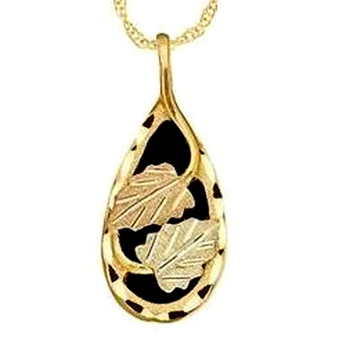 Stamper Black Hills Gold Teardrop Pendant Necklace. 10K Solid Gold Leaf Adornments. N320X