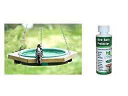 Songbird Essentials SE504 Mini Hanging Bird Bath Green with SE7030 Birdbath Protector 4 oz bundle