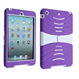 Cool Rubberized Cover Rubber Skin Case Protective Stand for iPad Mini Purple+White