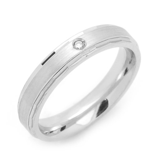 Sterling Silver Wedding Band 4MM Single Stone Accent Comfort Fit Ring - Size 6