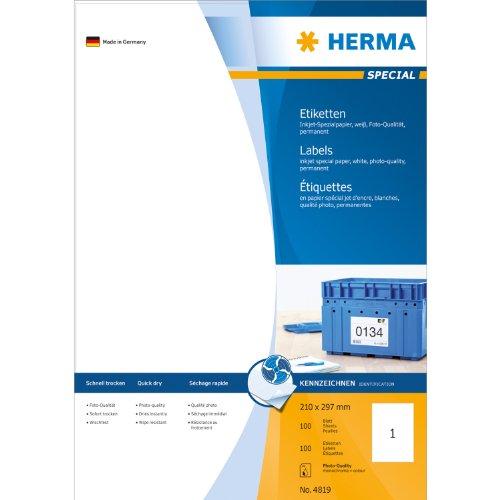 Etiquettes jet d'encre blanc 210x297 InkPrint Spec.100 pcs HERMA 4819