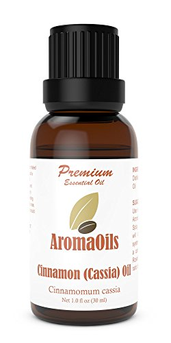 Cinnamon (Cassia) Bark Essential Oil by AromaOils - 1 oz (30 ml) - Best for Aromatherapy, Muscle Pain Relief, Massage, and Anxiety and Depression Relief
