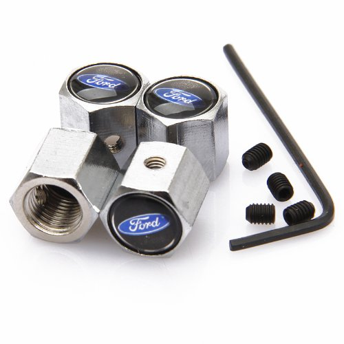 Black Ford Anti-theft Chrome Car Wheel Tire Valve Stem Caps image