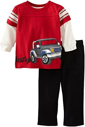 Watch Me Grow! by Sesame Street Baby-Boys Infant 2 Piece Truck Pullover And Pant, Red, 12 Months