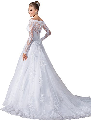 Vernassa a line bridal dresses long sleeves off the for White off the shoulder wedding dress