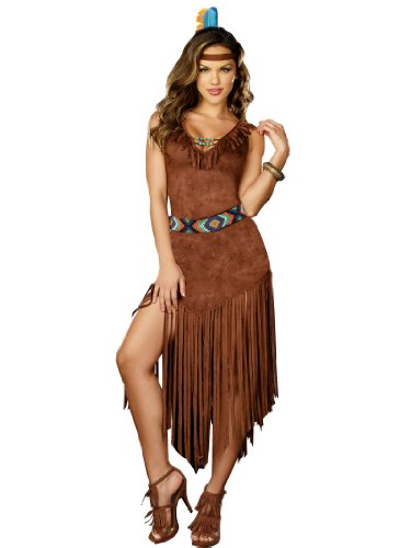Divine Native American Costume Dress Brown Dress and Beads Womens Theatrical