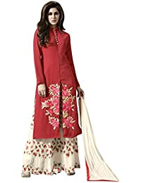 New Design Red & Cream Embroidered & Heavy Printed Plazzo Suit