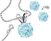 925 Sterling Silver Aquamarine Pendant And Earrings Combo Gift Set-1.00 Carat Each Stone from Made in U.S.A