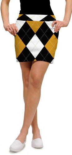 Loudmouth Golf Ladies Skorts: Black & Gold Argyle - Size 6 by Loudmouth Golf