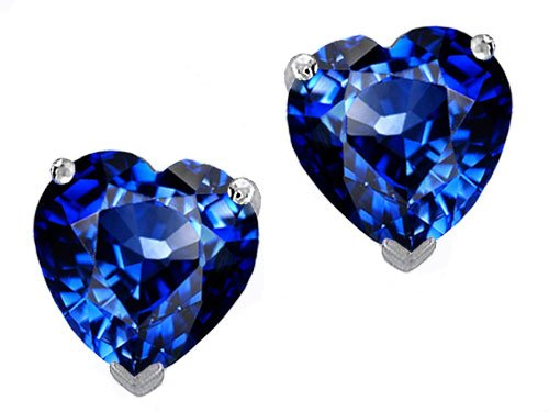 Original Star K(tm) 7mm Heart Created Sapphire Earring Studs in .925 Sterling Silver