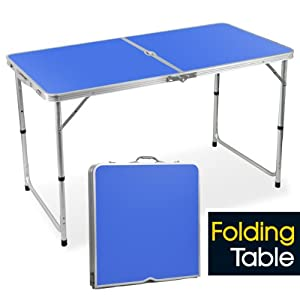 popamazing 4ft Aluminum Portable Folding Camping Picnic Party Dining Table - 120cm x 60cm(L & W) - with Adjustable Legs (Blue)