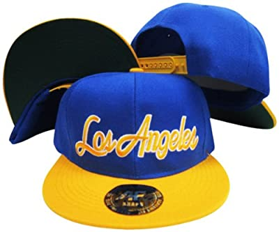 Los Angeles California Script Rams Colors Blue/Yellow Adjustable Snapback Hat / Cap