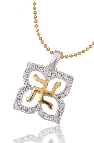 Lifestyle Infinity Lifestyle Gold Plated Crystal Swastik Necklace For Women (D2G) (Transperant)