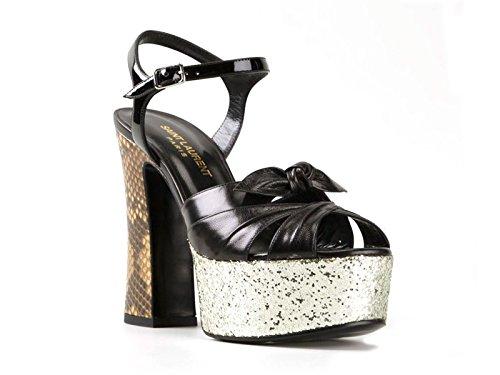 Sandali tacco alto Saint Laurent in pelle nero - Codice modello: 384981 LIC20 9729 - Taglia: 38 IT
