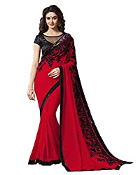 Offo Deals Partywear Traditional Red Women Saree ss-1807f