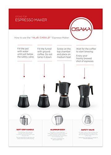 "Osaka Stovetop Espresso Maker - Aluminum with Marbled Coating, Stove-Top Moka Pot ""Nijo Castle"" (6 Cup)"