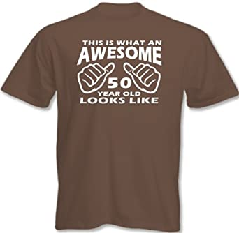 Lovetshirts ~ This Is What An Awesome 50 Year Old Looks Like - Mens Funny 50th Birthday T-Shirt - Chesnut, Medium