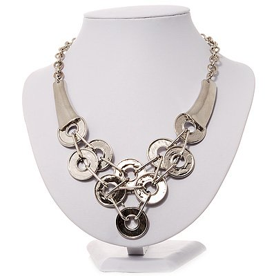 Silver Tone Bib Style Metal Disk Necklace - 40cm Length
