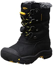 KEEN Basin WP Winter Boot (Toddler/Little Kid/Big Kid),Black/Yellow,6 M US Big Kid