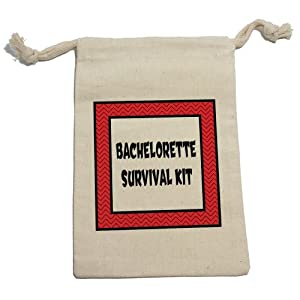 Bachelorette Survival Kit Chevrons Red Muslin Cotton Gift Party Favor Bags - LG (12)