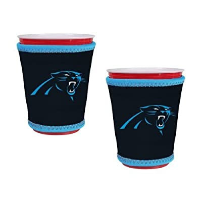 NFL Panthers - Neoprene Cup Sleeves (2) | Carolina Panthers Cup Insulators - Set of 2