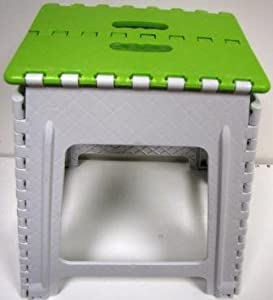 "18"" Step Stool - Imperial Easy Folding Step Stool With Handles - MW1112 Green & White Large"