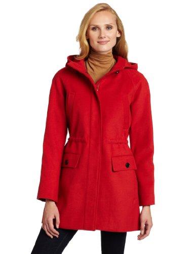 Tommy Hilfiger Women's Hooded Wool Anorak Coat, Burnt Orange, 10