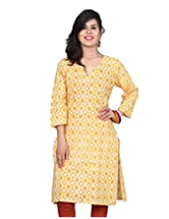 Chhipa Stylish Women Hand Block Printed Beige Short Kurta