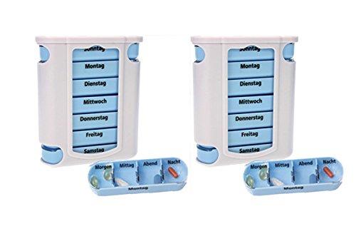 2 er Pack ( = 2 Stück ) praktischer Medikamentendosierer , Pillendose,Pillenbox , Tablettenbox , Wochendosierer , 14 Tage – aus dem KAMACA-SHOP